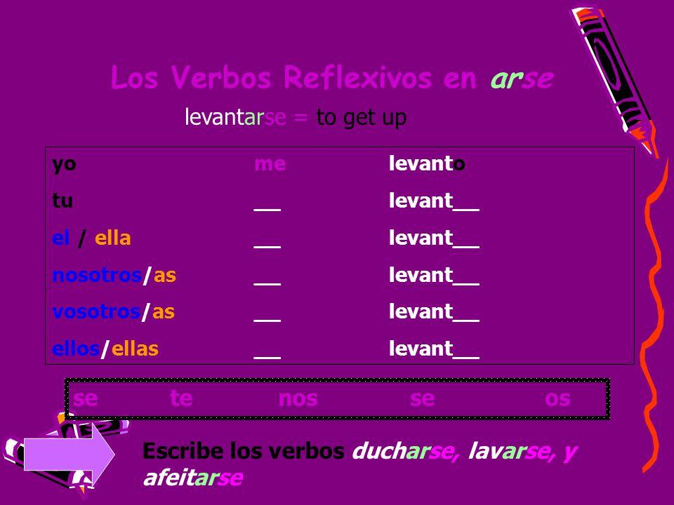 Los Verbos Reflexivos en arse yomelevanto tu__ levant__ el / ella__levant__ nosotros/as__levant__ vosotros/as__levant__ ellos/ellas__ levant__ levanta
