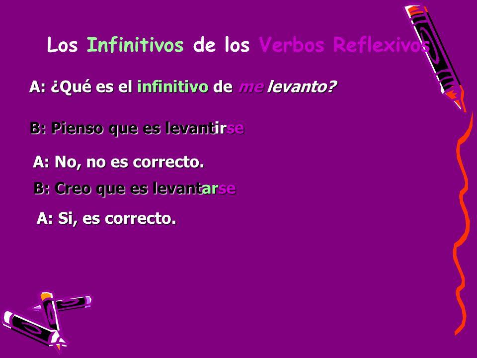 Los Infinitivos de los Verbos Reflexivos A: ¿Qué es el infinitivo de me levanto? B: Pienso que es levantirse A: No, no es correcto. B: Creo que es lev