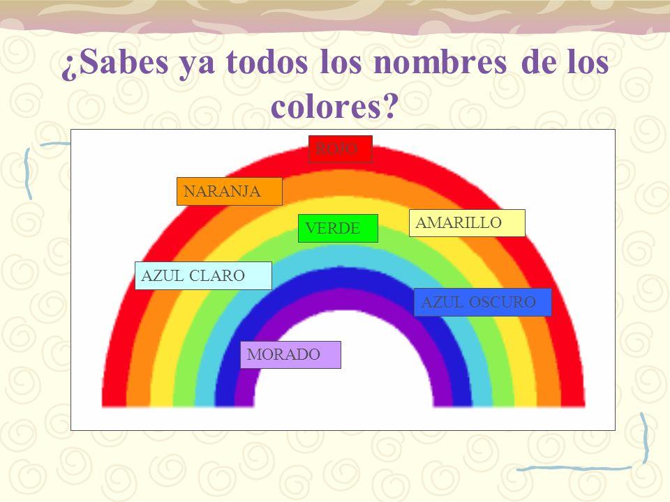 ¿Sabes ya todos los nombres de los colores? ROJO NARANJA AMARILLO AZUL CLARO VERDE AZUL OSCURO MORADO