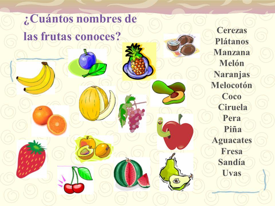 ¿Cuántos nombres de las frutas conoces? Cerezas Plátanos Manzana Melón Naranjas Melocotón Coco Ciruela Pera Piña Aguacates Fresa Sandía Uvas
