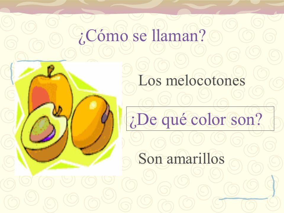 ¿Cómo se llaman? ¿De qué color son? Los melocotones Son amarillos