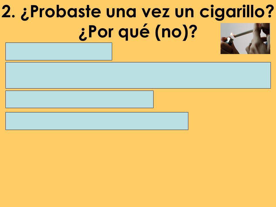 2. ¿Probaste una vez un cigarillo? ¿Por qué (no)? Probé un cigarillo hace un año / unos meses / anoche en una fiesta / el fin de semana cuándo tenía …
