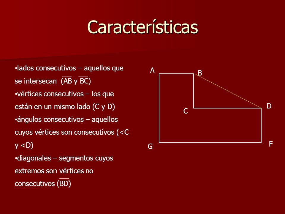Clasificación Polígono convexo – aquel en el que las rectas determinadas por sus lados están en él y en su exterior.