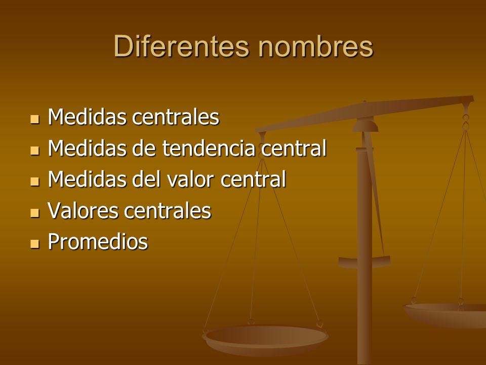 Diferentes nombres Medidas centrales Medidas centrales Medidas de tendencia central Medidas de tendencia central Medidas del valor central Medidas del valor central Valores centrales Valores centrales Promedios Promedios