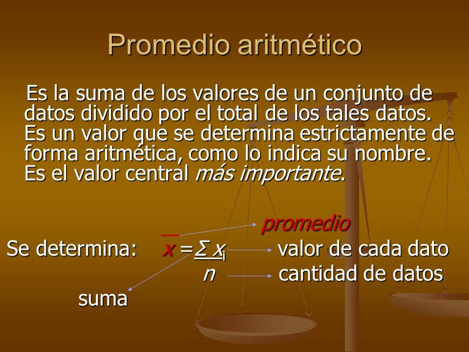 Promedio aritmético Es la suma de los valores de un conjunto de datos dividido por el total de los tales datos.