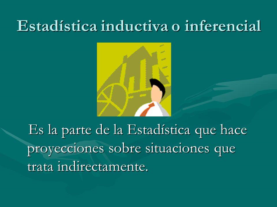 Estadística descriptiva Es la parte de la Estadística que trata directamente con la información recopilada. Es la parte de la Estadística que trata di