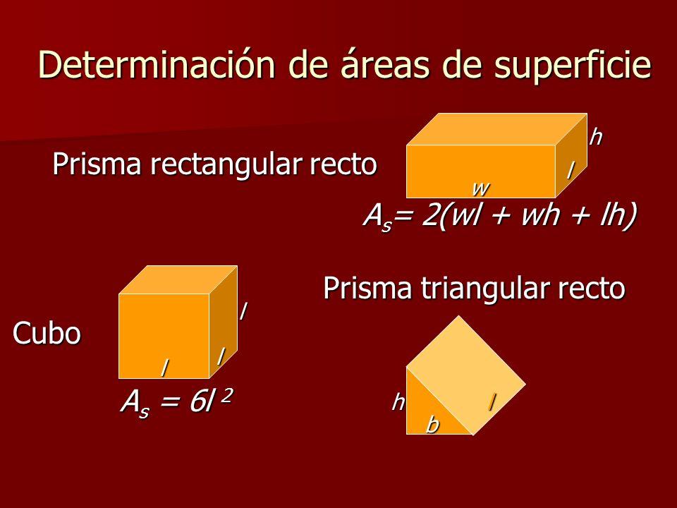 Determinación de áreas de superficie Cubo Prisma triangular recto Prisma rectangular recto A s = 2(wl + wh + lh) l w h l l l A s = 6l 2 h b l