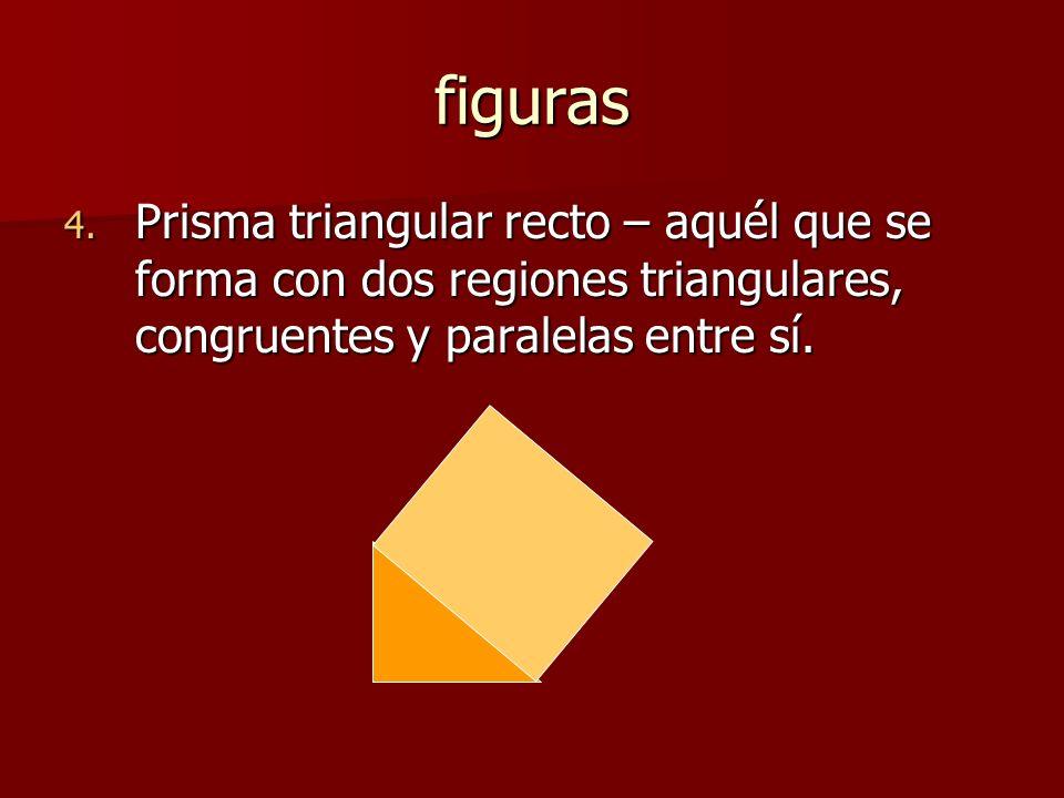 figuras 4. Prisma triangular recto – aquél que se forma con dos regiones triangulares, congruentes y paralelas entre sí.