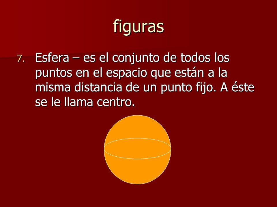 figuras 7. Esfera – es el conjunto de todos los puntos en el espacio que están a la misma distancia de un punto fijo. A éste se le llama centro.