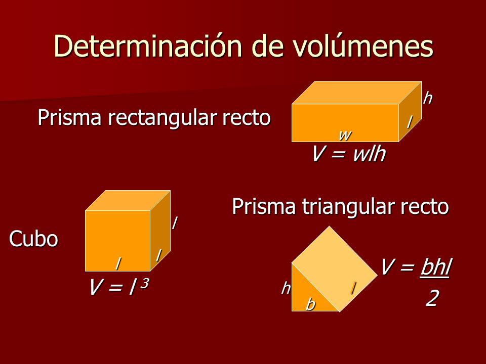 Determinación de volúmenes Cubo Prisma triangular recto Prisma rectangular recto V = wlh l w h l l l V = l 3 h b l V = bhl 2