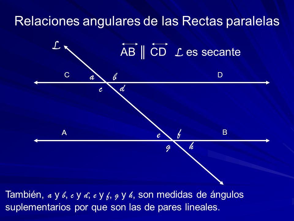 A C También, a y b, c y d ; e y f, g y h, son medidas de ángulos suplementarios por que son las de pares lineales. Relaciones angulares de las Rectas