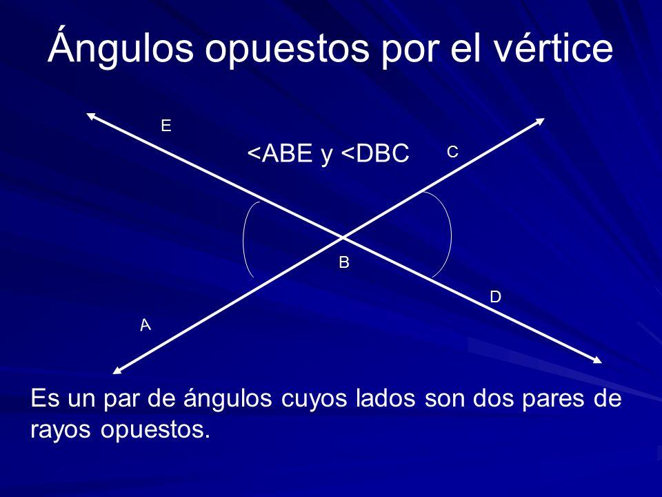 A C Es un par de ángulos cuyos lados son dos pares de rayos opuestos. Ángulos opuestos por el vértice B D E <ABE y <DBC