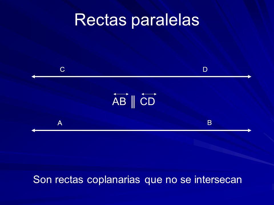 A C Son rectas coplanarias que no se intersecan Rectas paralelas B D AB CD