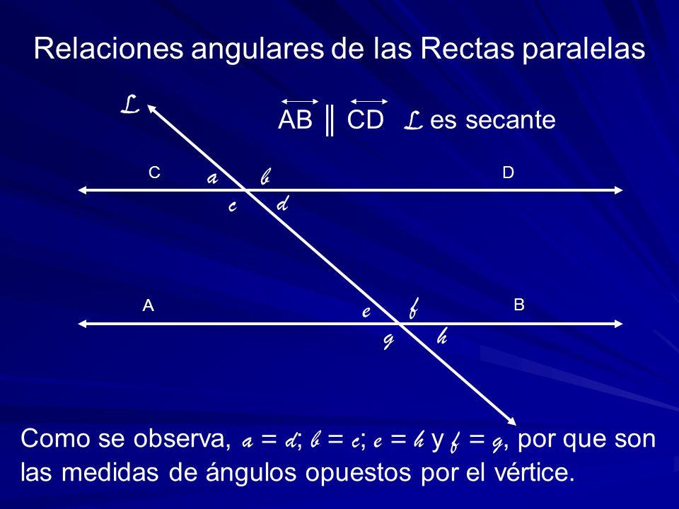 A C Como se observa, a = d ; b = c ; e = h y f = g, por que son las medidas de ángulos opuestos por el vértice. Relaciones angulares de las Rectas par