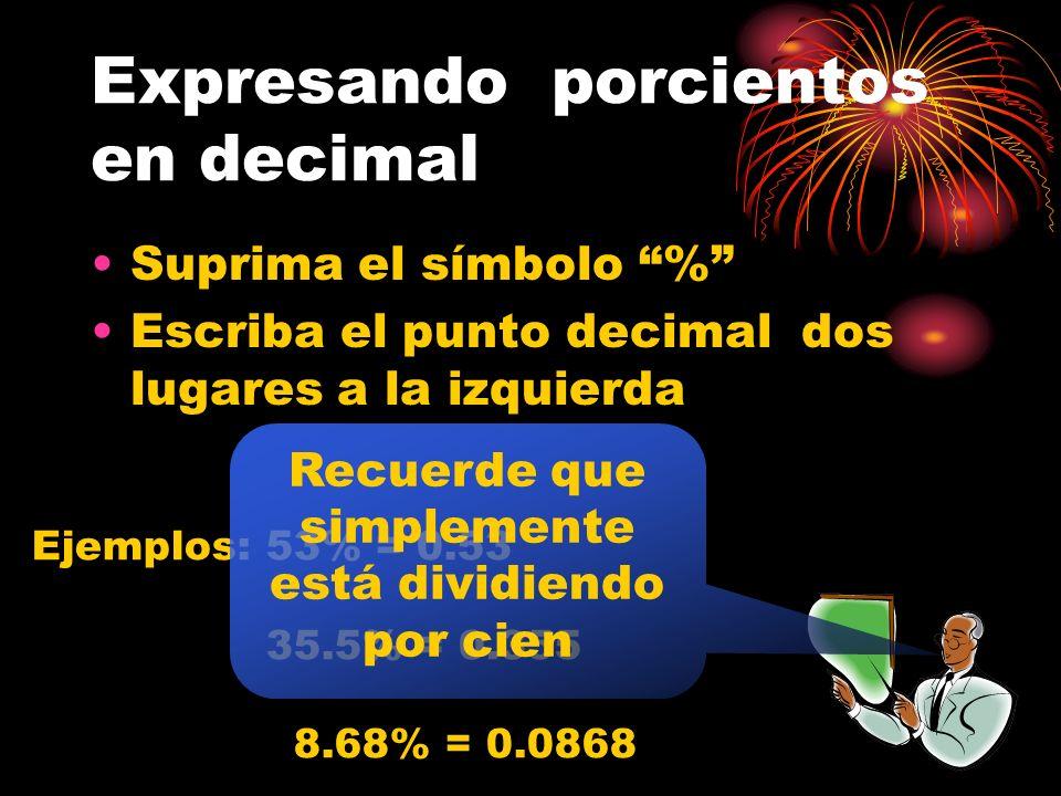 Expresando un fraccionario común en porcientos Convierta el común en decimal Proceda cambiando el decimal a porcientos como se estableció anteriorment