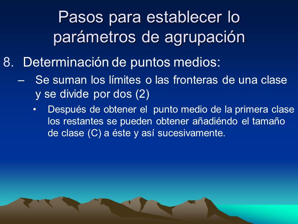 Pasos para establecer lo parámetros de agrupación 8.Determinación de puntos medios: –Se suman los límites o las fronteras de una clase y se divide por dos (2) Después de obtener el punto medio de la primera clase los restantes se pueden obtener añadiéndo el tamaño de clase (C) a éste y así sucesivamente.