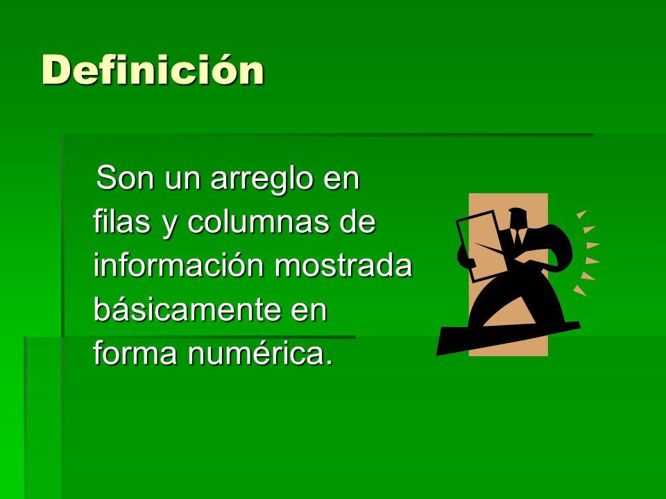 Definición Son un arreglo en filas y columnas de información mostrada básicamente en forma numérica.