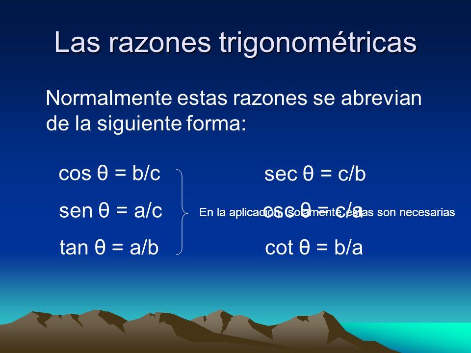 Las razones trigonométricas Utilizaremos el triángulo rectángulo para establecer una serie de razones que surgen de un ángulo en particular. a b c θ c