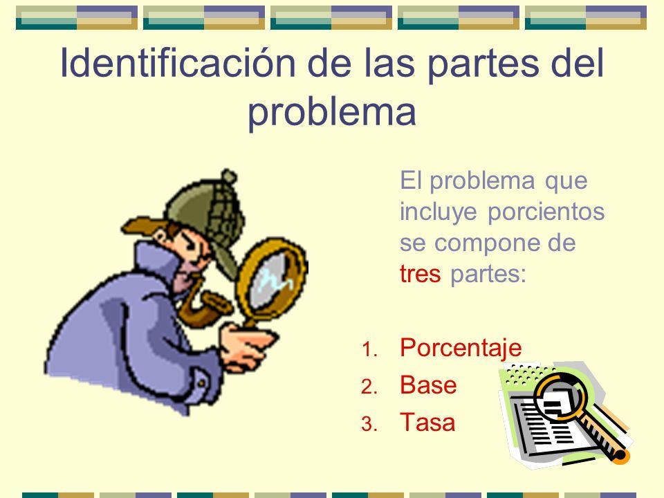 Identificación de las partes del problema El problema que incluye porcientos se compone de tres partes: 1.