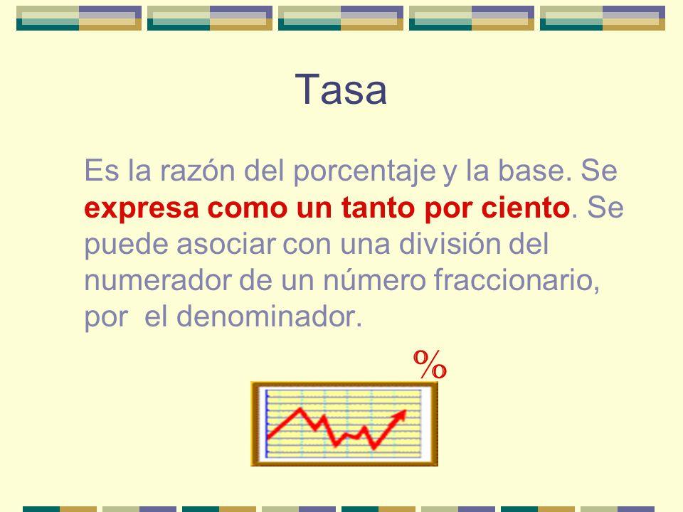 Tasa Es la razón del porcentaje y la base.Se expresa como un tanto por ciento.