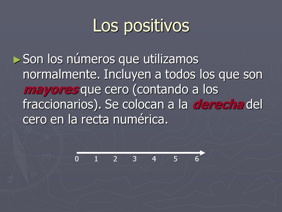 Los positivos Son los números que utilizamos normalmente. Incluyen a todos los que son mayores que cero (contando a los fraccionarios). Se colocan a l