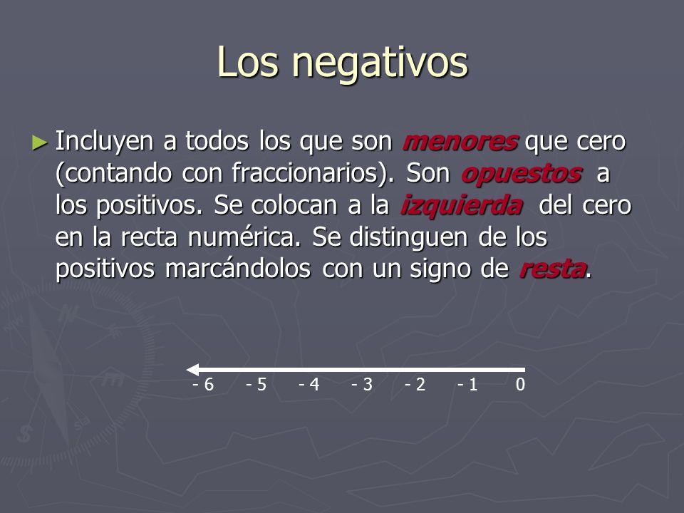 Los negativos Incluyen a todos los que son menores que cero (contando con fraccionarios). Son opuestos a los positivos. Se colocan a la izquierda del