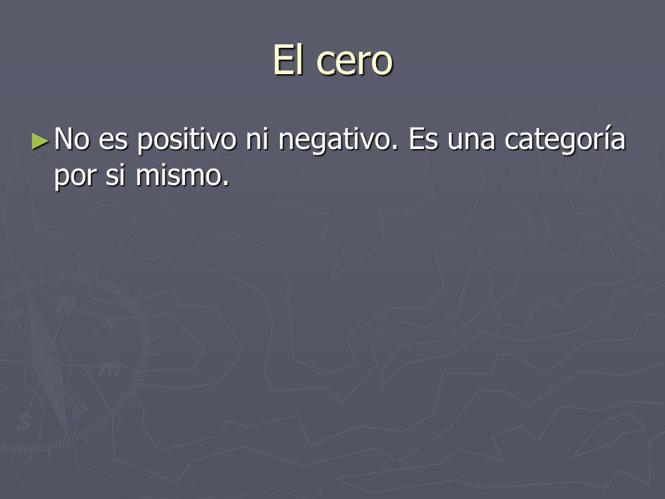El cero No es positivo ni negativo. Es una categoría por si mismo. No es positivo ni negativo. Es una categoría por si mismo.