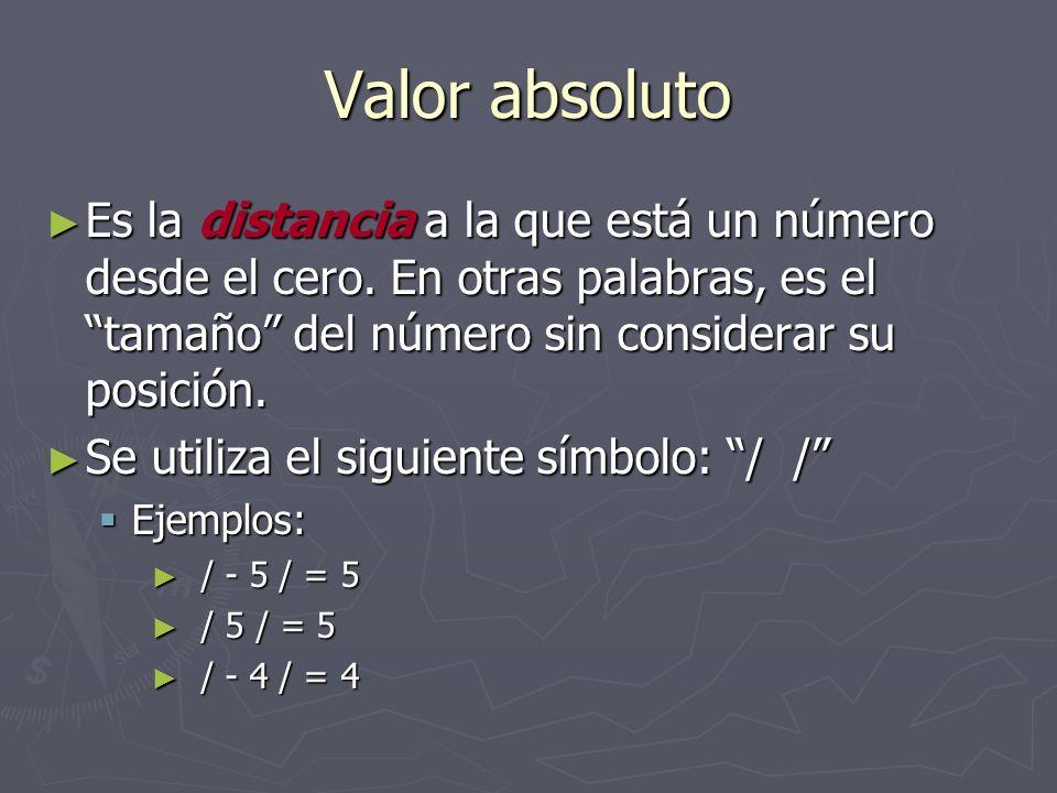 Valor absoluto Es la distancia a la que está un número desde el cero. En otras palabras, es el tamaño del número sin considerar su posición. Es la dis