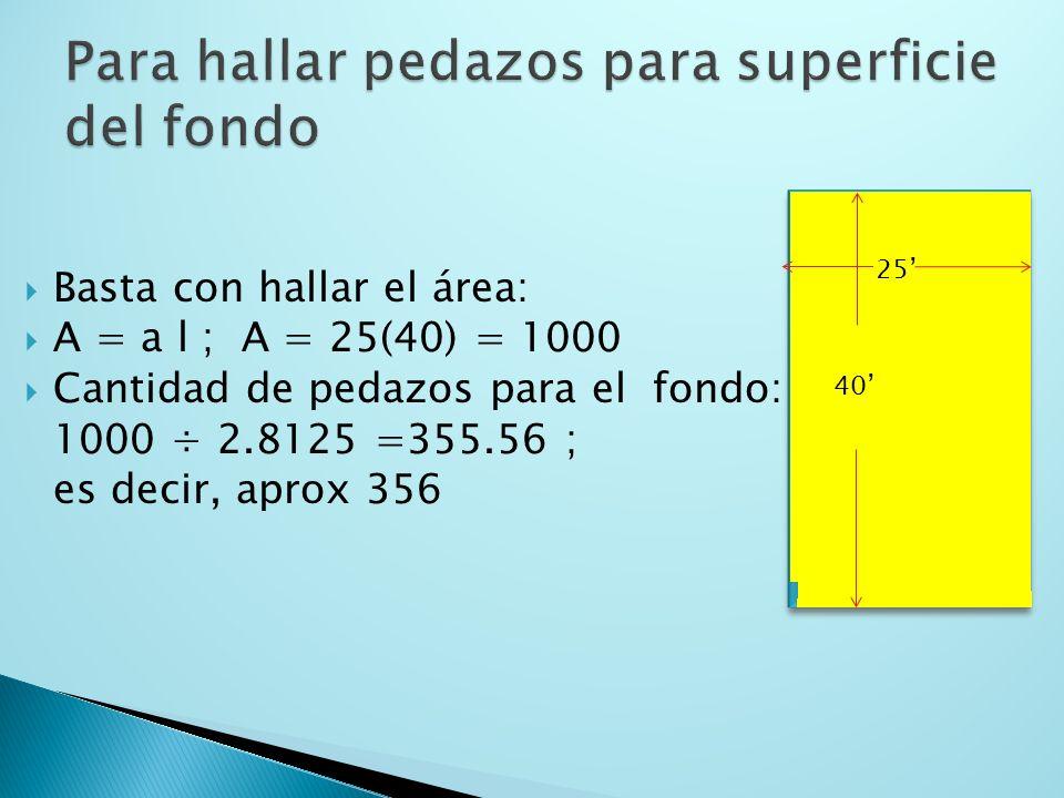 Basta con hallar el perímetro: P = 2(a + l) ; P = 2(25 +40) = 130 Cantidad de pedazos alrededor: 130 ÷ 3.75 =34.67; es decir, aprox 35 40 25
