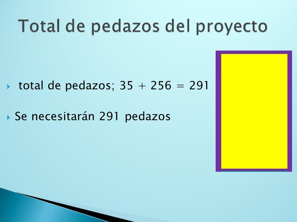 Basta con hallar el área: A = a l ; A = 25(40) = 1000 Cantidad de pedazos para el fondo: 1000 ÷ 2.8125 =355.56 ; es decir, aprox 356 25 40