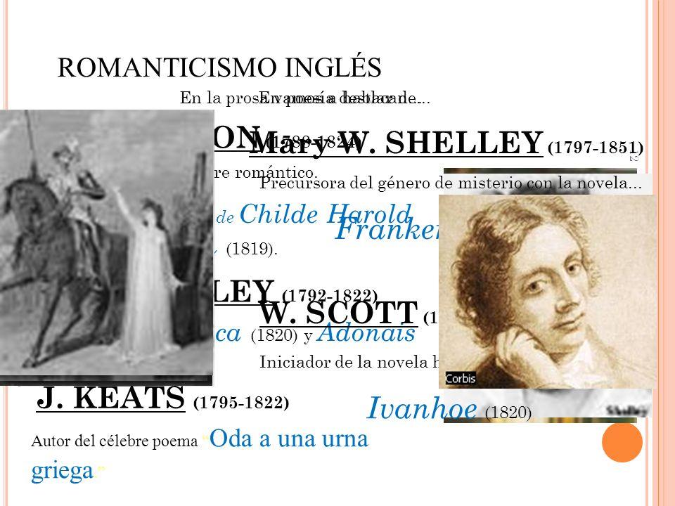 12 ROMANTICISMO INGLÉS En poesía destacan... LORD BYRON (1788-1824) Prototipo vital de hombre romántico. Autor de Peregrinación de Childe Harold (1818