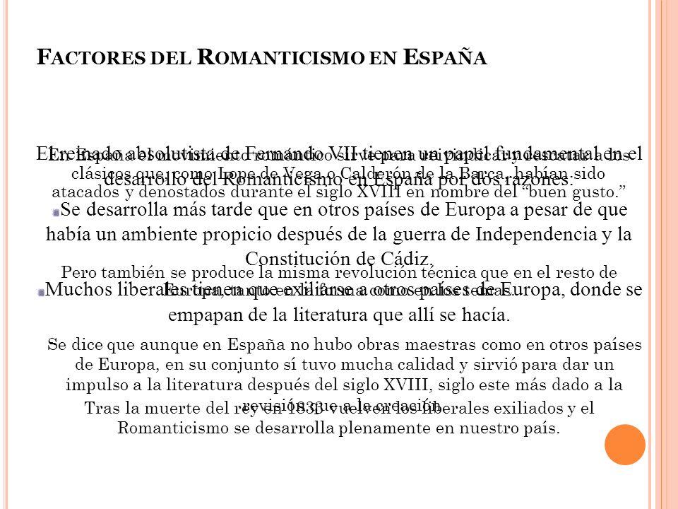 15 F ACTORES DEL R OMANTICISMO EN E SPAÑA El reinado absolutista de Fernando VII tienen un papel fundamental en el desarrollo del Romanticismo en Espa
