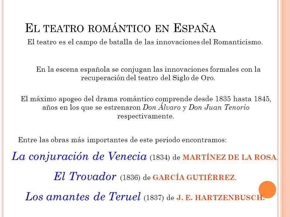 E L TEATRO ROMÁNTICO EN E SPAÑA El teatro es el campo de batalla de las innovaciones del Romanticismo. En la escena española se conjugan las innovacio