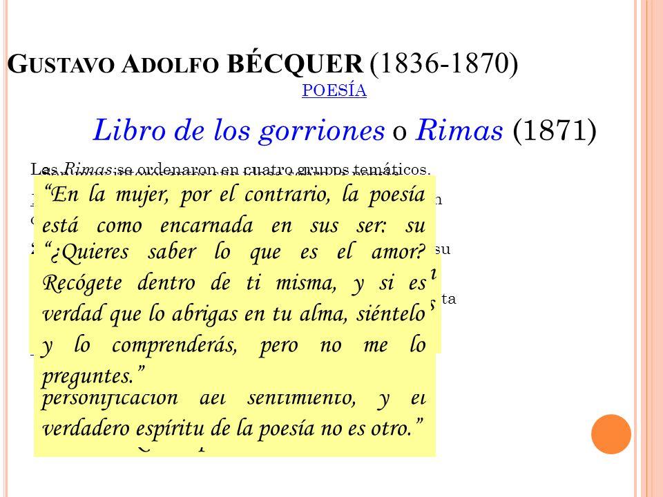 G USTAVO A DOLFO BÉCQUER (1836-1870) POESÍA Libro de los gorriones o Rimas (1871) Las Rimas se ordenaron en cuatro grupos temáticos. 1º Rimas I a la X