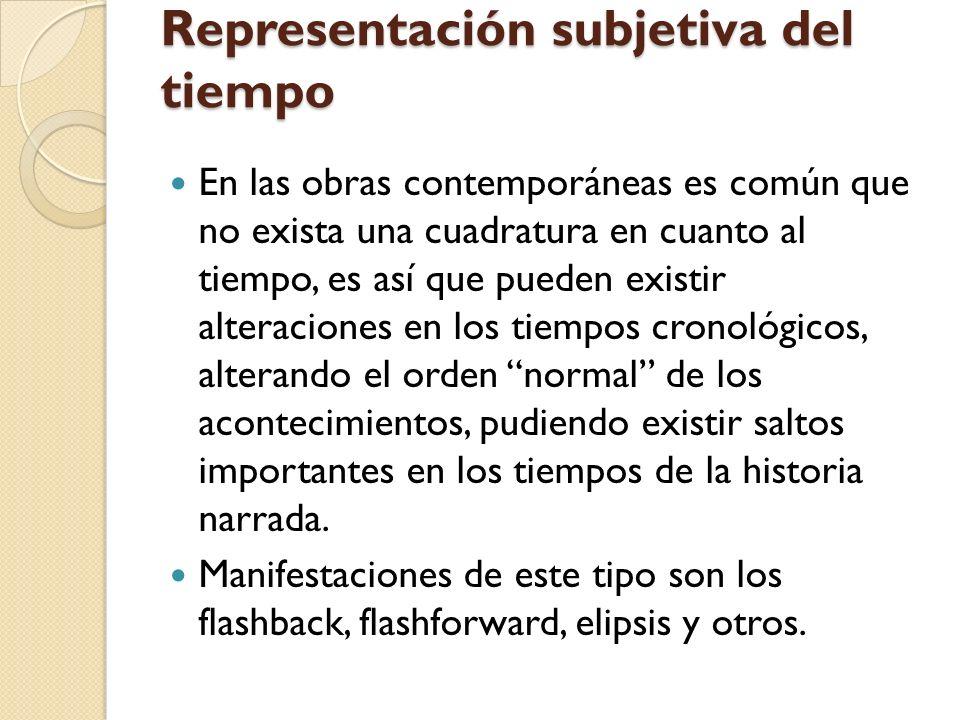 Representación subjetiva del tiempo En las obras contemporáneas es común que no exista una cuadratura en cuanto al tiempo, es así que pueden existir a
