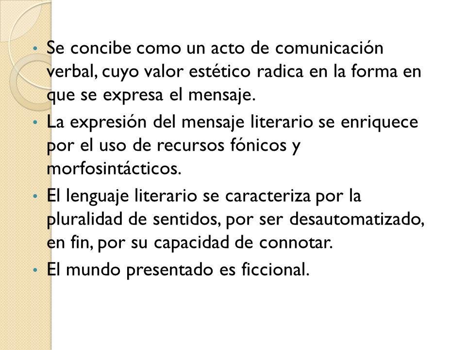 Se concibe como un acto de comunicación verbal, cuyo valor estético radica en la forma en que se expresa el mensaje. La expresión del mensaje literari