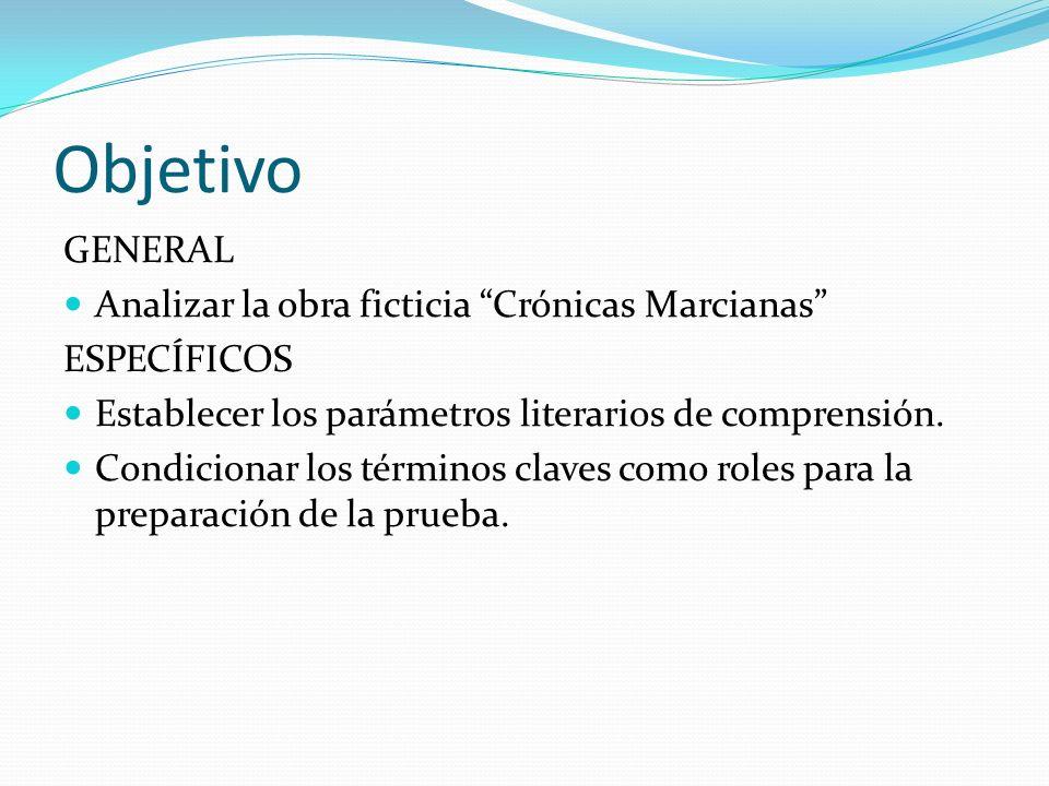 Objetivo GENERAL Analizar la obra ficticia Crónicas Marcianas ESPECÍFICOS Establecer los parámetros literarios de comprensión. Condicionar los término