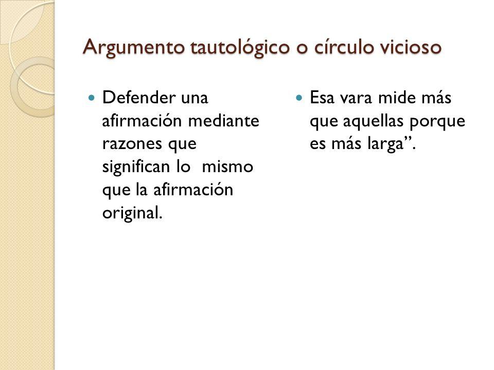 Argumento tautológico o círculo vicioso Defender una afirmación mediante razones que significan lo mismo que la afirmación original. Esa vara mide más