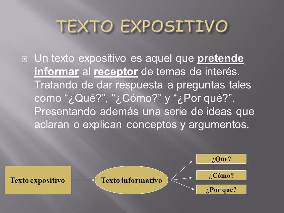 Un texto expositivo es aquel que pretende informar al receptor de temas de interés.
