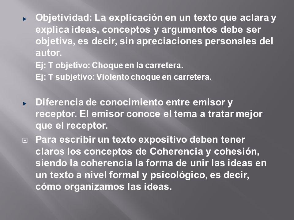 La cohesión dice relación con la capacidad de organizar las ideas a nivel textual, es decir, tiene relación con el uso de conectores textuales.