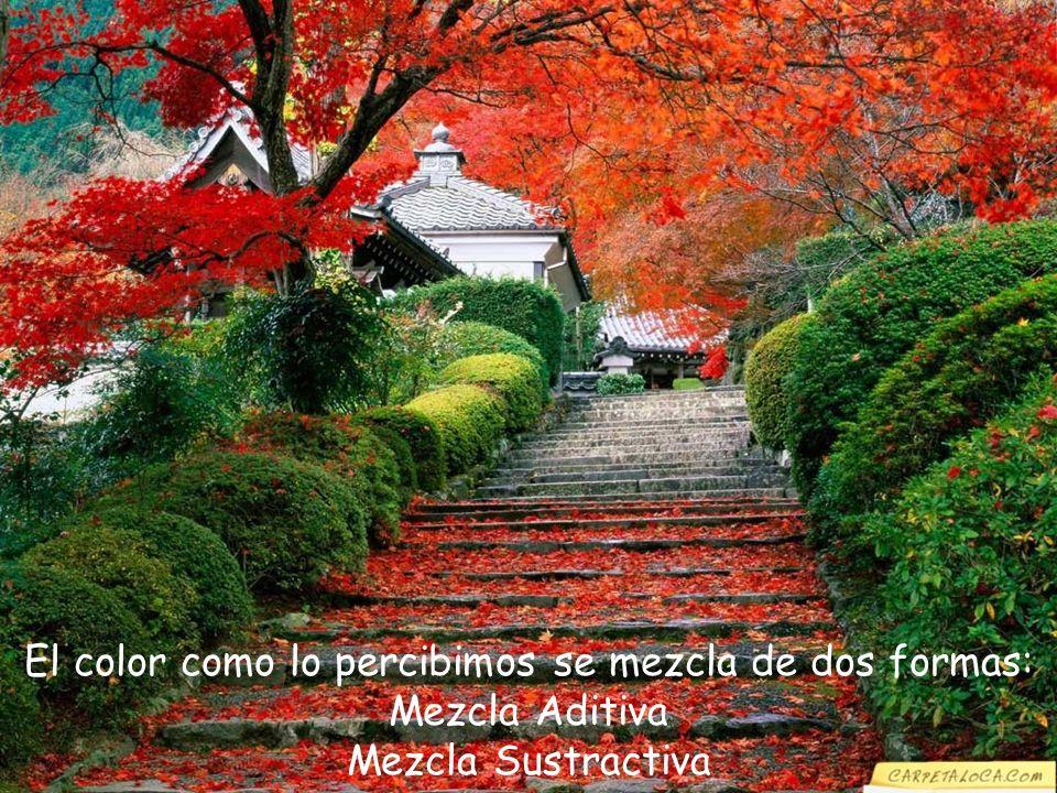 MEZCLA ADITIVA Esta mezcla se realiza con los colores base rojo, azul y verde; con éstos colores se producen las imágenes en el televisor; también son llamados colores luz.
