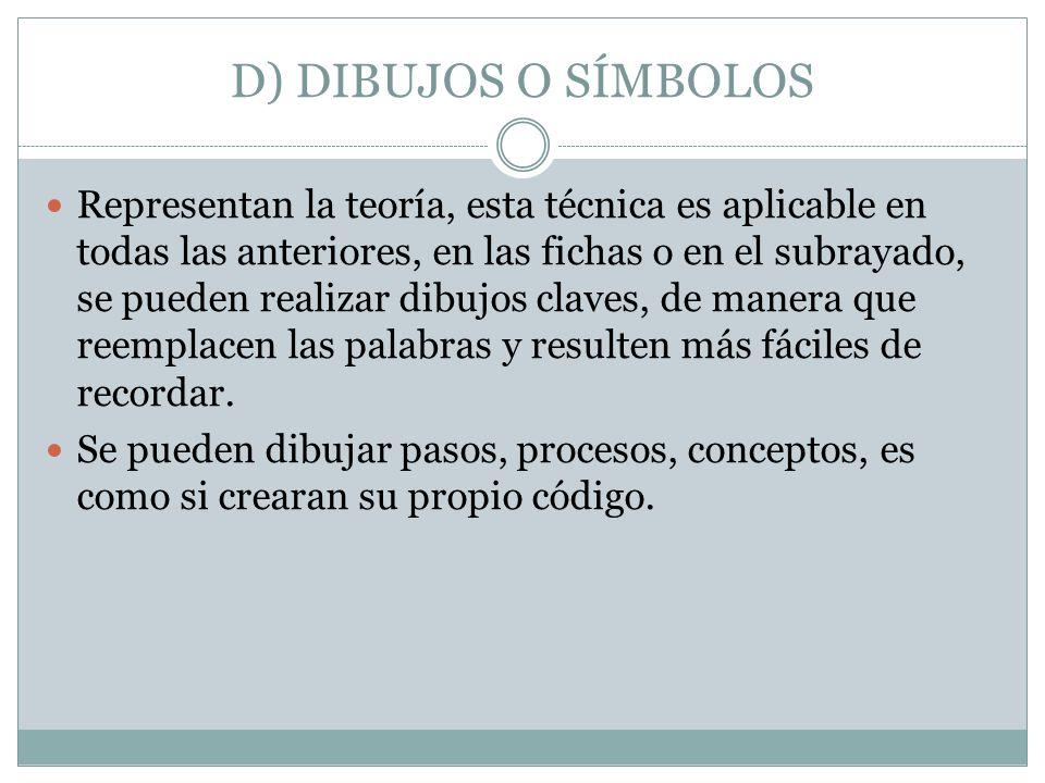 D) DIBUJOS O SÍMBOLOS Representan la teoría, esta técnica es aplicable en todas las anteriores, en las fichas o en el subrayado, se pueden realizar di