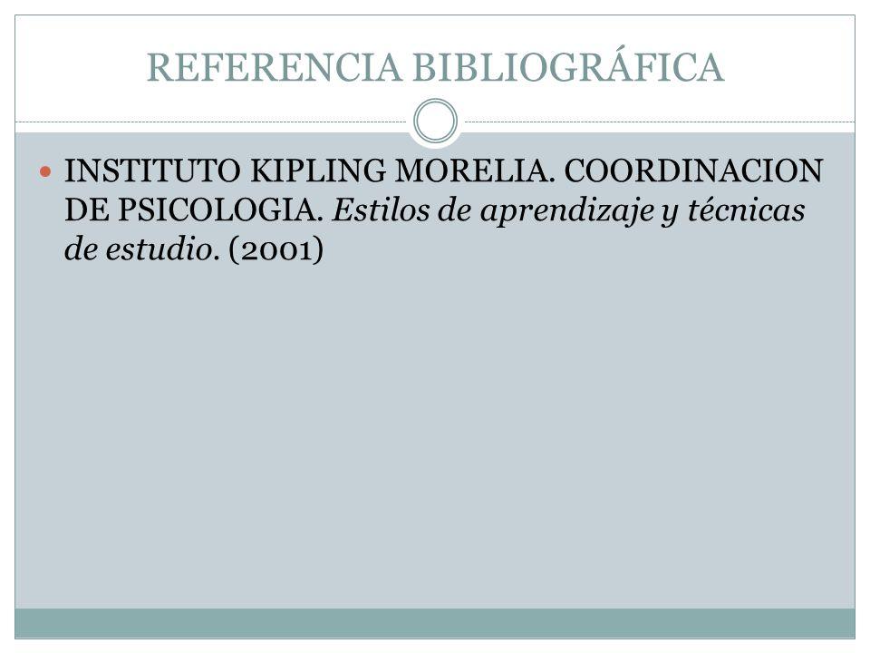REFERENCIA BIBLIOGRÁFICA INSTITUTO KIPLING MORELIA. COORDINACION DE PSICOLOGIA. Estilos de aprendizaje y técnicas de estudio. (2001)