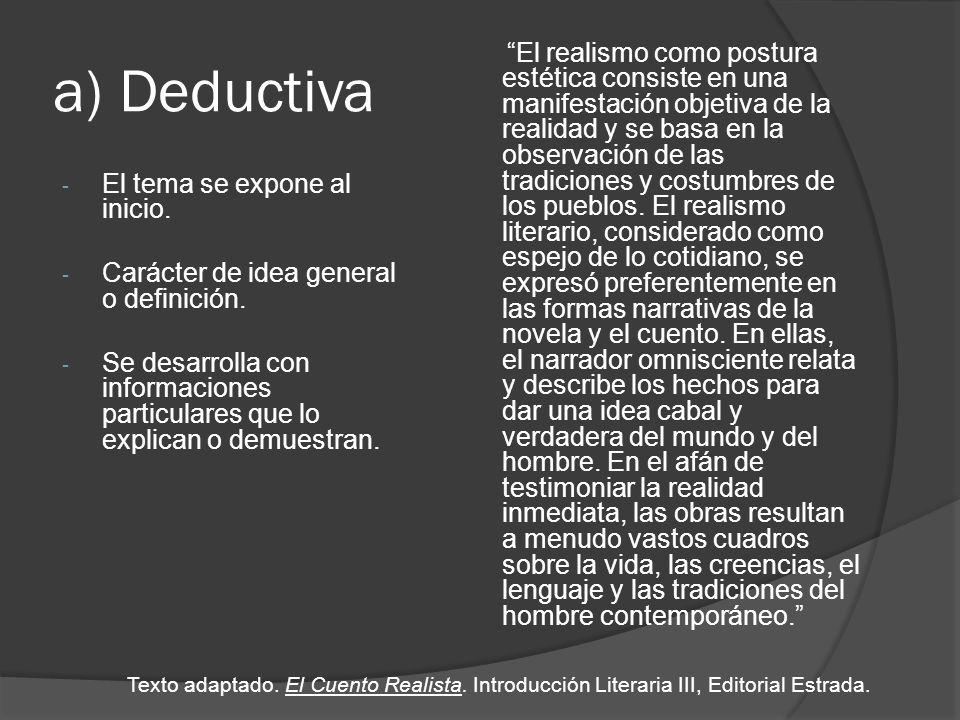 b) Inductiva - Inicia con presentación de datos o informaciones particulares, como ejemplos.