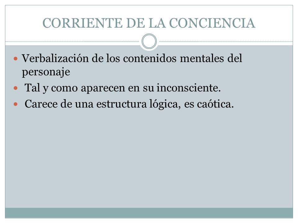 CORRIENTE DE LA CONCIENCIA Verbalización de los contenidos mentales del personaje Tal y como aparecen en su inconsciente. Carece de una estructura lóg