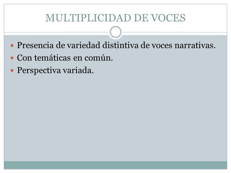 MULTIPLICIDAD DE VOCES Presencia de variedad distintiva de voces narrativas. Con temáticas en común. Perspectiva variada.