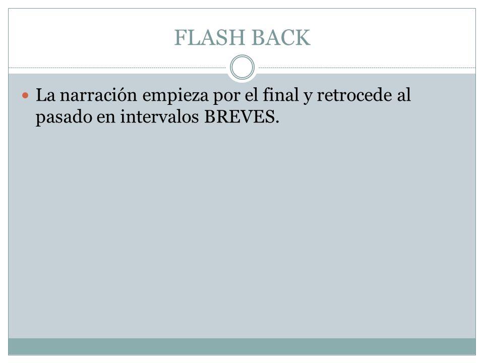 FLASH BACK La narración empieza por el final y retrocede al pasado en intervalos BREVES.