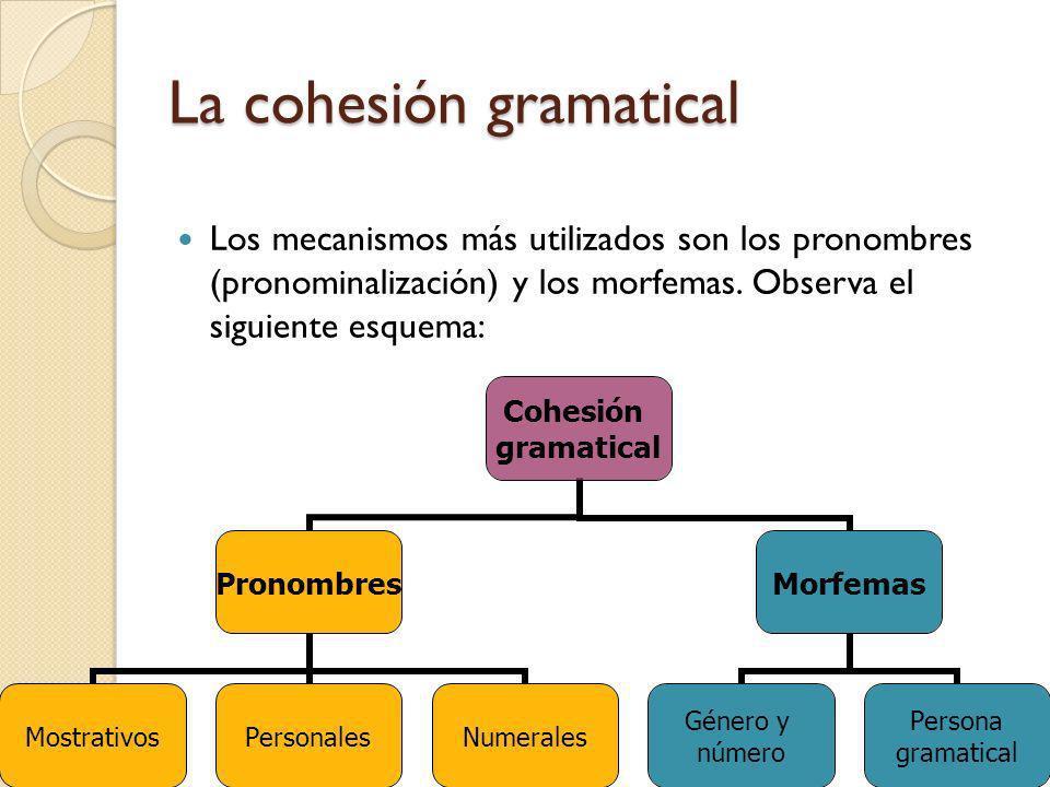 La cohesión gramatical Los mecanismos más utilizados son los pronombres (pronominalización) y los morfemas. Observa el siguiente esquema: Cohesión gra