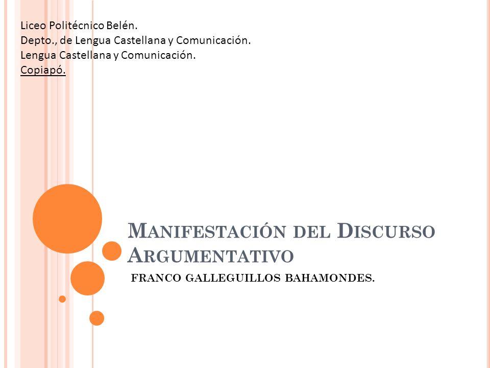 M ANIFESTACIÓN DEL D ISCURSO A RGUMENTATIVO FRANCO GALLEGUILLOS BAHAMONDES. Liceo Politécnico Belén. Depto., de Lengua Castellana y Comunicación. Leng