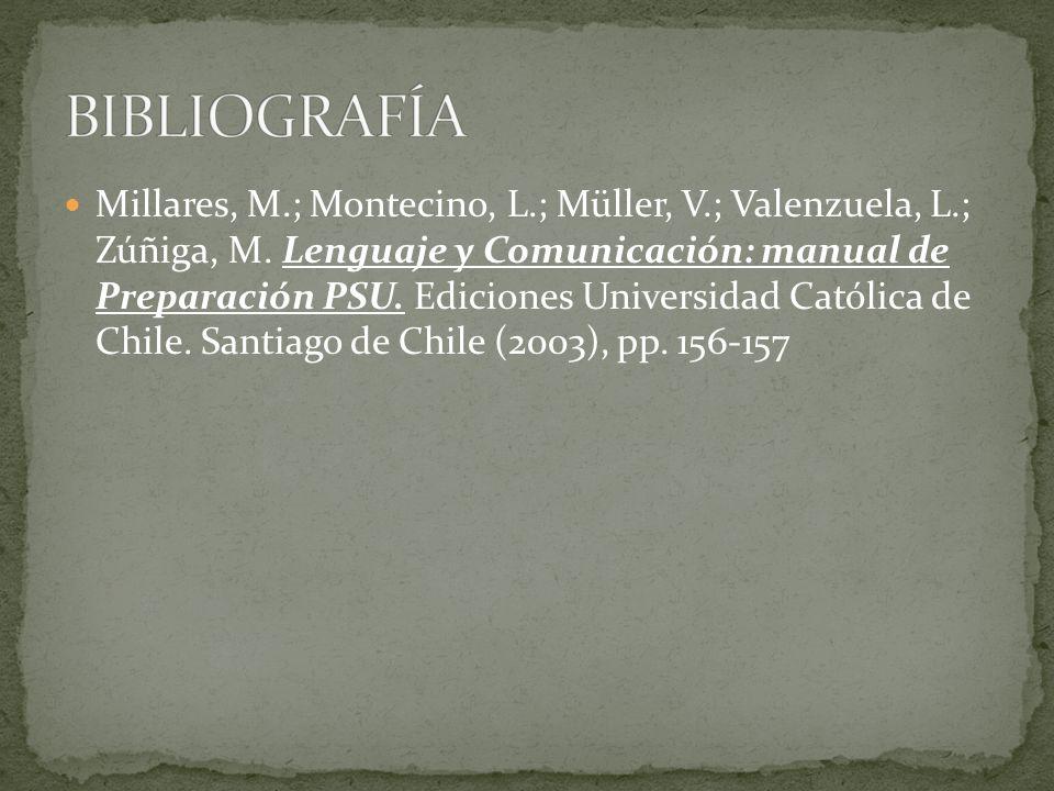 Millares, M.; Montecino, L.; Müller, V.; Valenzuela, L.; Zúñiga, M. Lenguaje y Comunicación: manual de Preparación PSU. Ediciones Universidad Católica